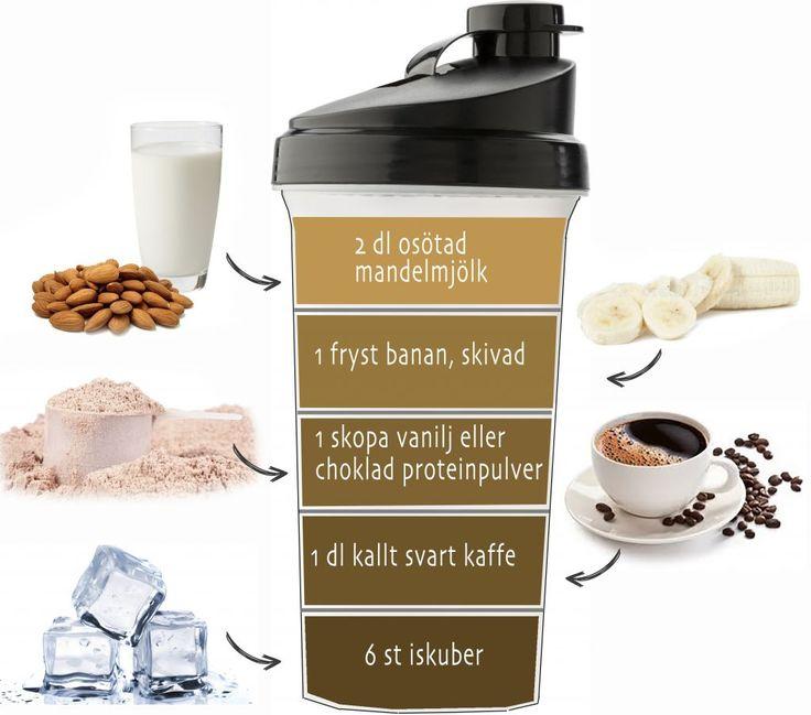 ISKAFFE – PROTEINSHAKE ♡ Recept med superfyllning (mätt ända fram till lunch). Lågt kaloriinnehåll, innehåller mycket protein och den perfekta drinken att ta på morgonen om man vill gå ner i vikt. Kalorier: ca 115 kcal per drink.