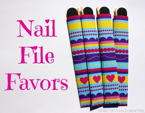 Girls sleepover party favors! Nail files and wood sticks in a cute scrapbook paper envelope!
