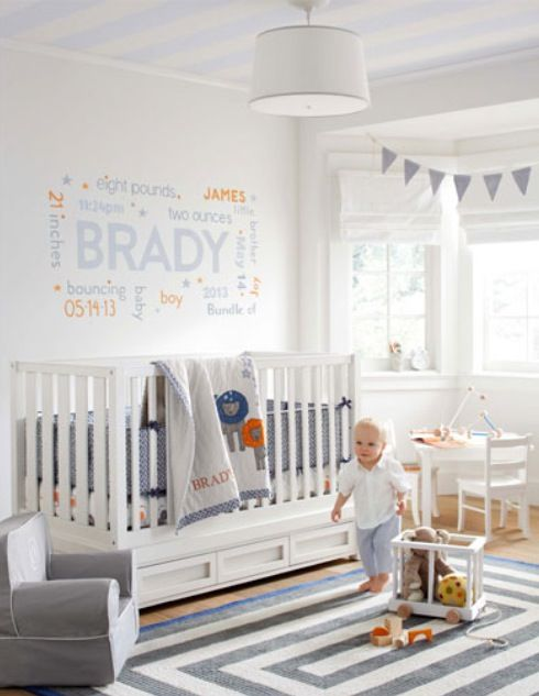 Gray & orange baby boy nursery!! and look at the baby's name! @Megan Ward Ward Ward Ward Ward Moore