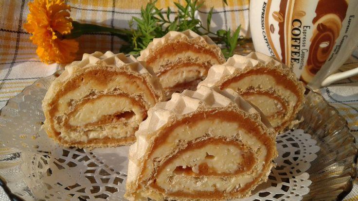 Reteta Foaie de napolitana cu crema caramel si biscuiti - Prajituri