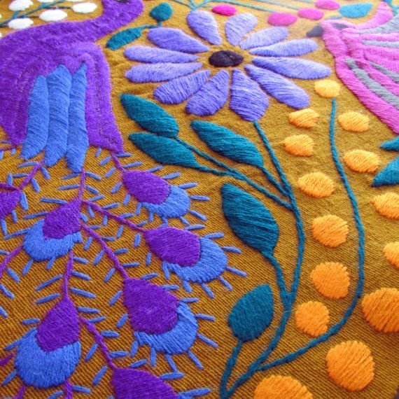 Table Runner Ocher Color Mexican Textile hand by ArteDeMiTierraMX