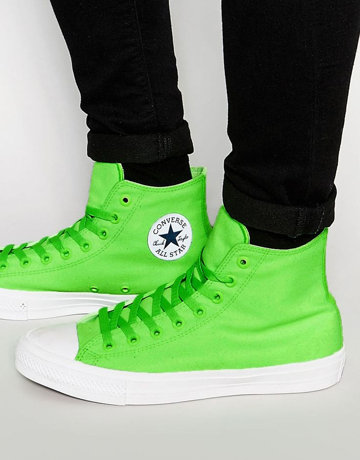 """I'm a sucker for a bit of neon"" Converse Chuck Taylor All Star II Hi-Top Plimsolls In Neon Green"