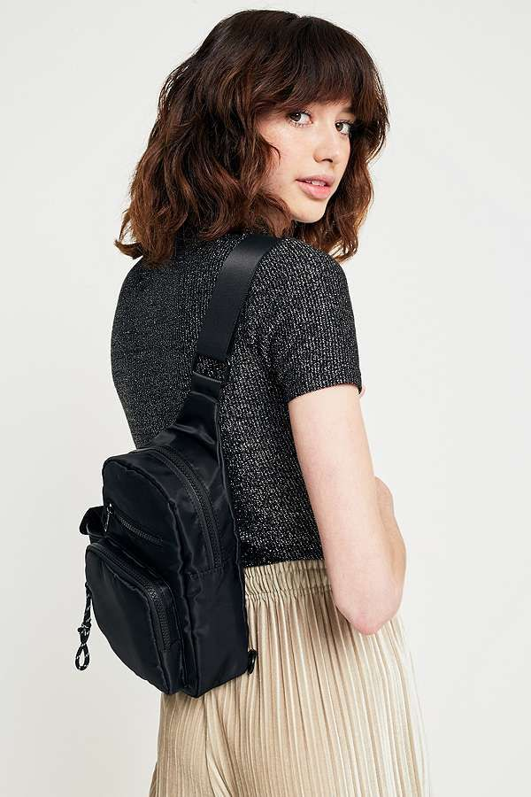 Slide View: 2: Black Nylon One-Shoulder Backpack