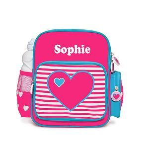 This beautiful pre school backpack is a great way for your child to carry everything they need.  Ideal for daycare, kinder, pre school.  Features * 100% Polyester * Top zip opening * Side pocket for drink bottle (not included) * Side pocket with zip * Front pocket with zip * Easy carry handle * Dimensions: 28cmH x 23cmW x 13cmD * Personalisation max 12 Characters * Heat Pressed in Australia