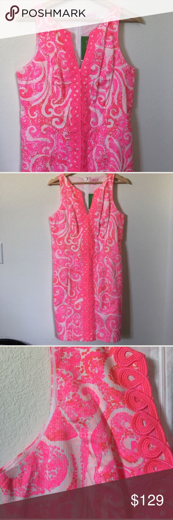 "{ Lilly Pulitzer} Shift Ryder Dress Lilly Pulitzer sleeveless dress with embellishment in front, partial zipper down back, lined, light and colorful. This is perfect for spring and upcoming summer! Comfy and cute! Measures laying flat approx 17.5"" pit to pit 16.5"" waist 20"" bottom 34.25"" mid back top down. Lilly Pulitzer Dresses"