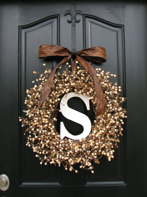 Personalized Wreaths - Wedding Wreaths - Berry Wreaths - Front Door - Sugar Cream Pie - Personalized Decor - Wooden Initials - Wedding Decor on Etsy, $105.00