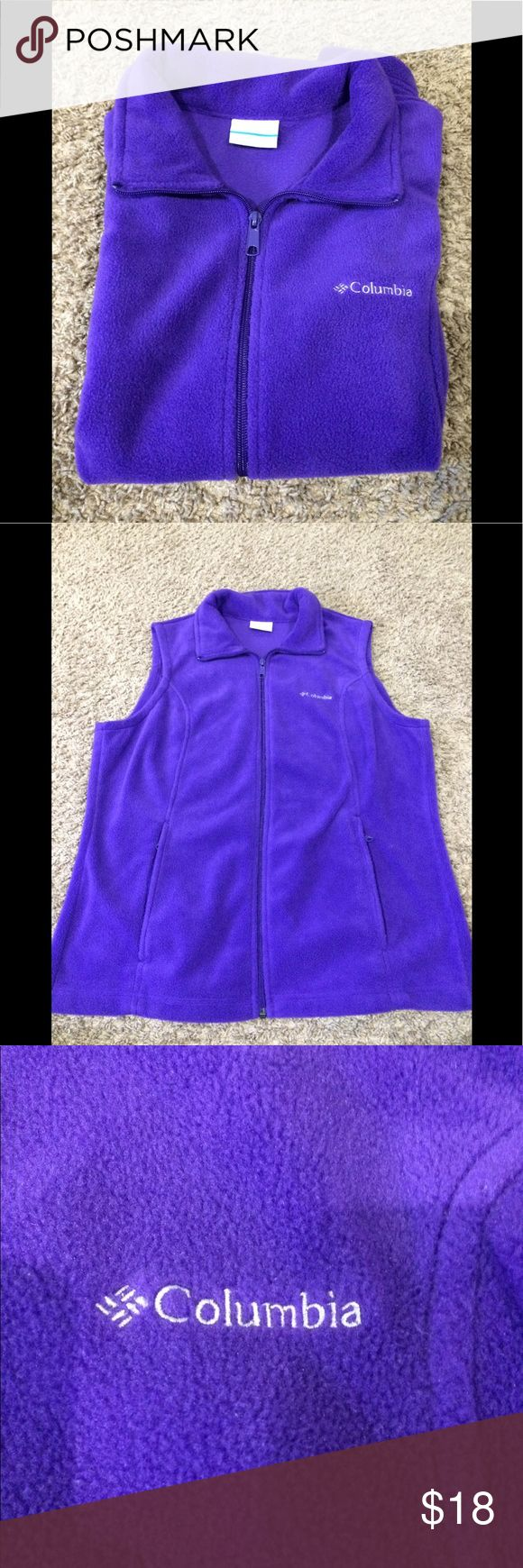 Columbia Women Purple Vest 1 Day Sale Only 9/21/17 Preowned Columbia Women Purple Vest size Large is excellent condition. Don't see any piling on it. The Vest has 2 front zipper pockets Columbia Other