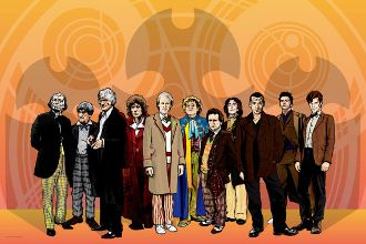 "The 11 Doctors (Yellow) 18"" x 12"" Print"