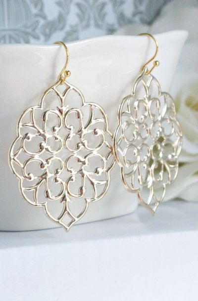 Romantic Large Moroccan Gold Filigree Earrings