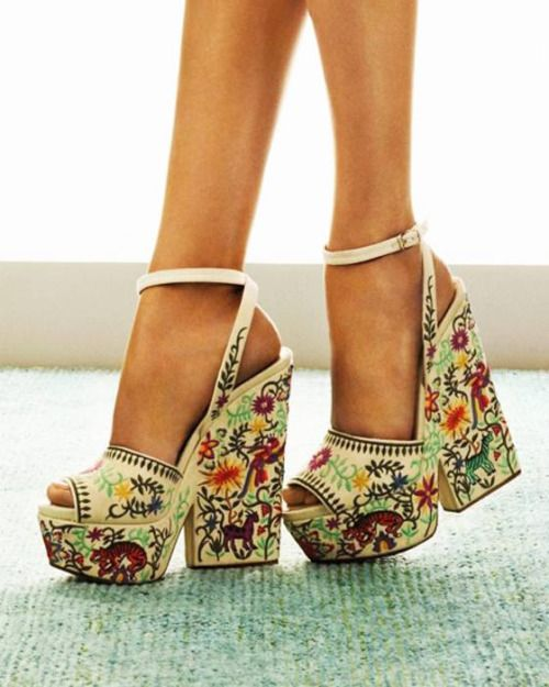 Heels with intricate embroidery and beadwork