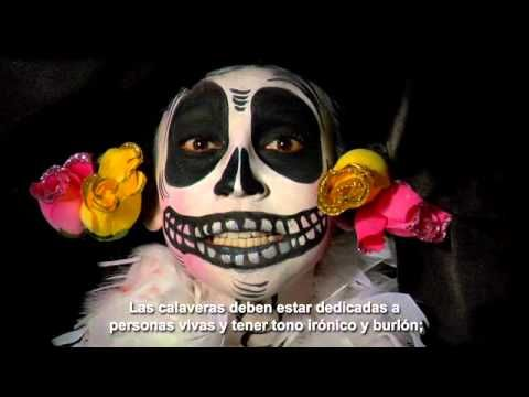 An excellent explanation of Calaveras for upper level classes. The description begins at about 1:25; before that, she is reading an example. The subtitles are not transcribed exactly, but they are very close.