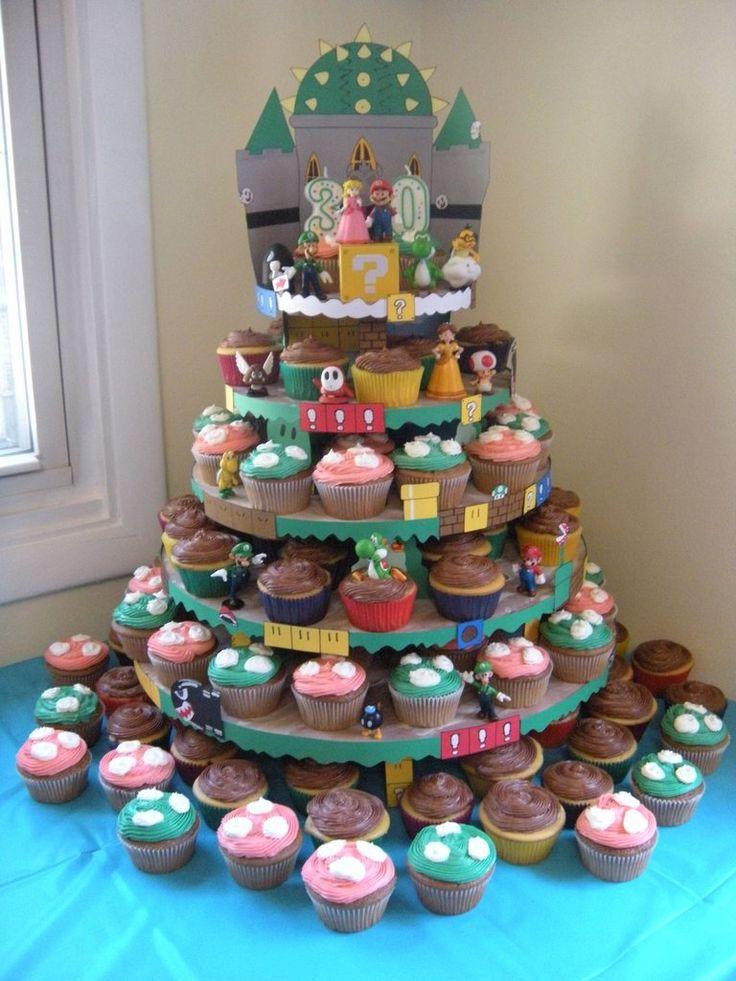 Mario Cupcake Tower by dingermann's wife (Reddit via it8Bit)   Super Mario Brothers NES Nintendo Cake Video Game