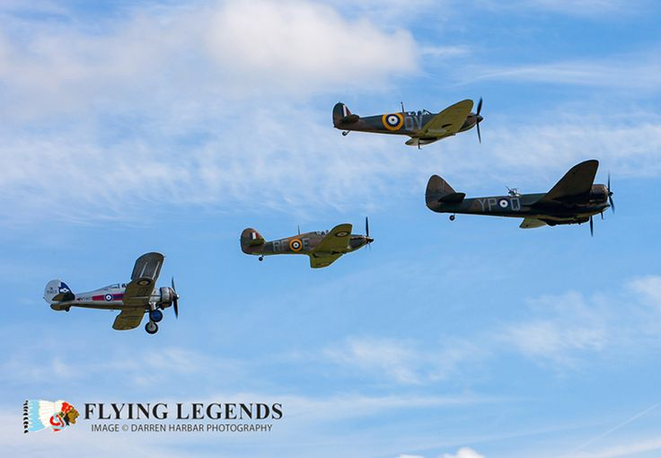 The Bristol Blenheim Mk.I in formation with the Hawker Hurricane Mk IIa, Supermarine Spitfire Mk Ia & Gloster Gladiator II during the 2016 Flying Legends Airshow.