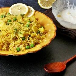 Potato Peas Pulao - Basmati Rice With Potatoes And Peas