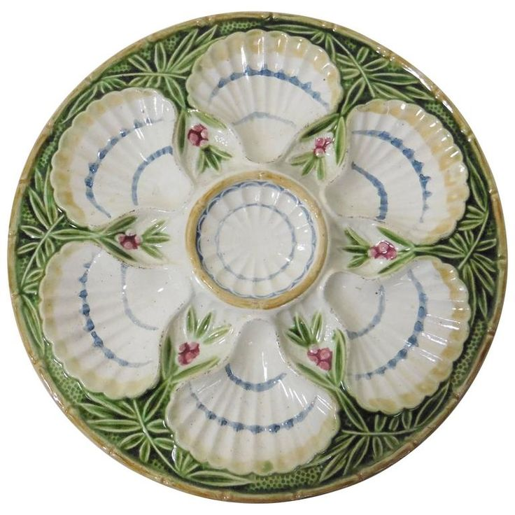 19th Century Majolica Bamboo and Berries Oyster Plate Salins | From a unique collection of antique and modern dinner plates at https://www.1stdibs.com/furniture/dining-entertaining/dinner-plates/