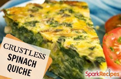Crustless Spinach, Onion and Feta Quiche Recipe by JENNLOVE via @SparkPeople