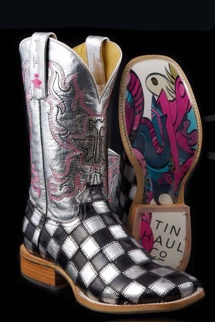 Tin Haul Boots Women's Shiny Metal Checkered Cowgirl Boots