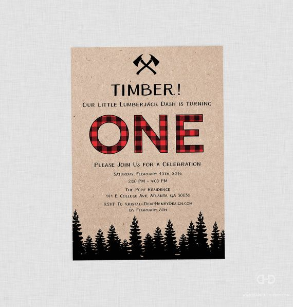 Lumberjack First Birthday Invitation Lumberjack by DearHenryDesign