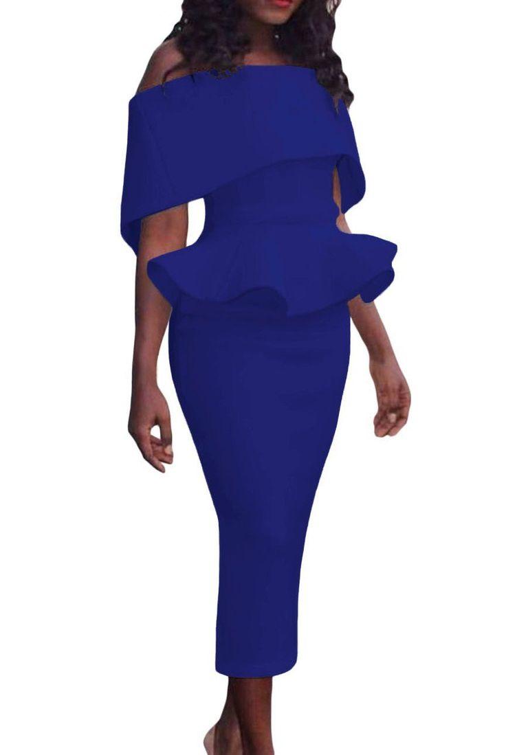 Robe a Volant Femme Bleu Moulante Mi-longue Epaule Denudee Pas Cher www.modebuy.com @Modebuy #Modebuy #Bleu #sexy #me #Bleu