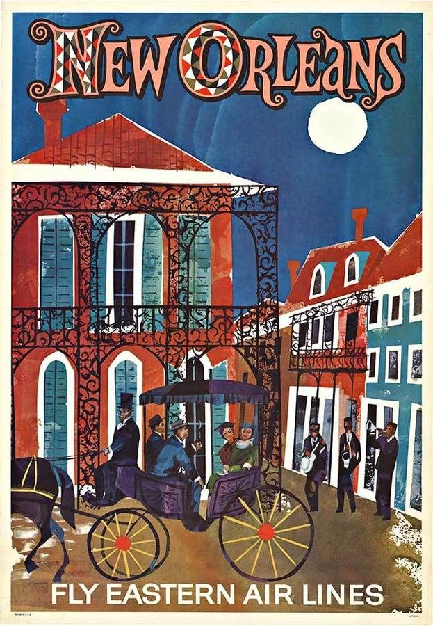 Original NEW ORLEANS - Fly Eastern Air Lines vintage travel poster.