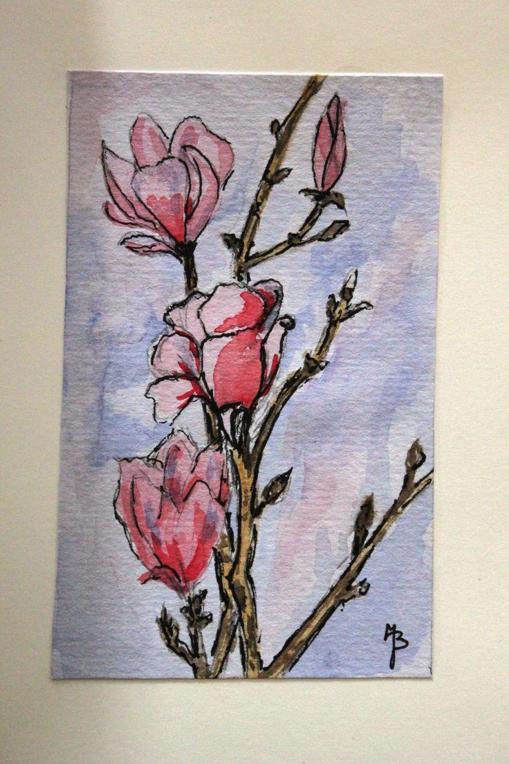 kaart Magnolia. geschilderd  J. Biemans