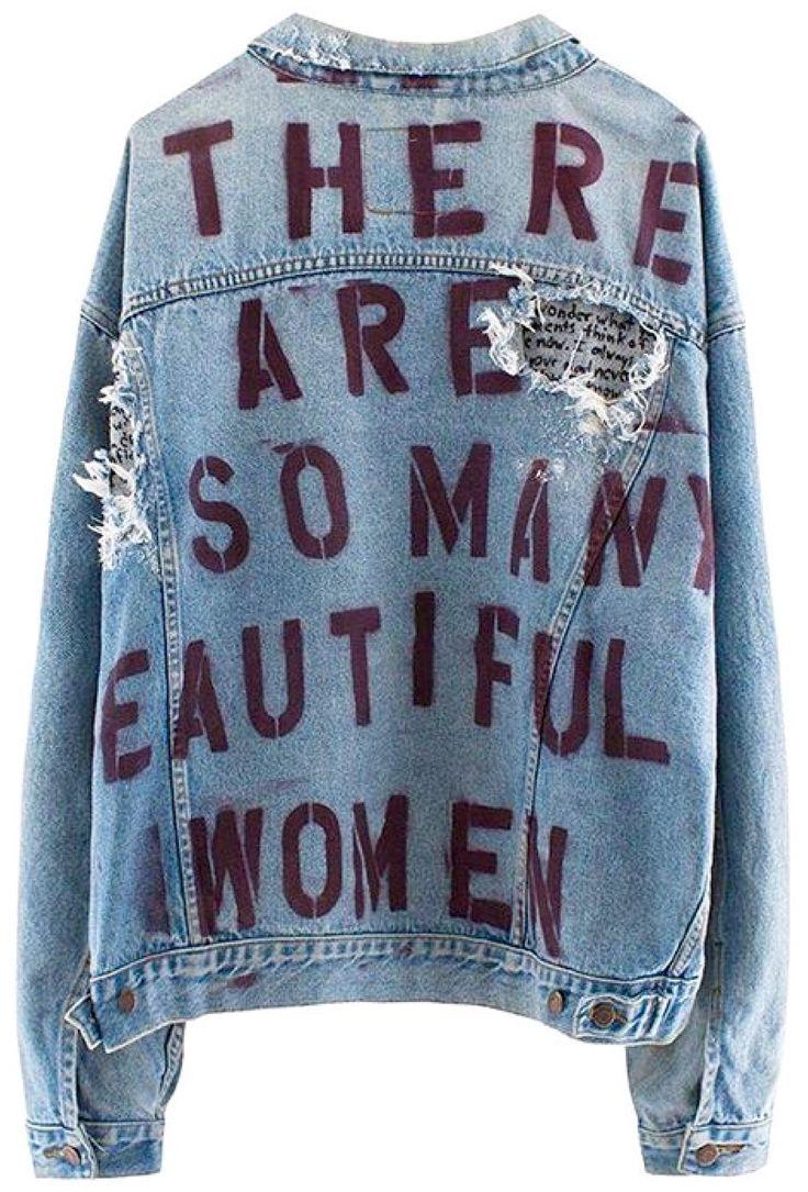 Custom Denim Jacket - Painted stenciled distressed worn