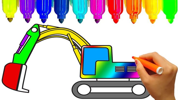 Construction truck coloring pages | How to draw excavator | Fun coloring...