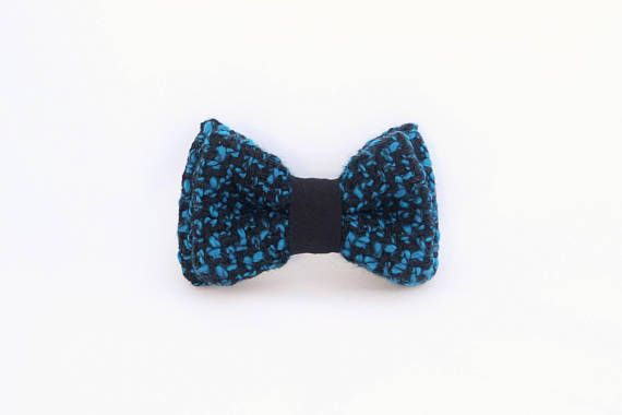 Noeud papillon interchangeable bleu en laine Homme et femme