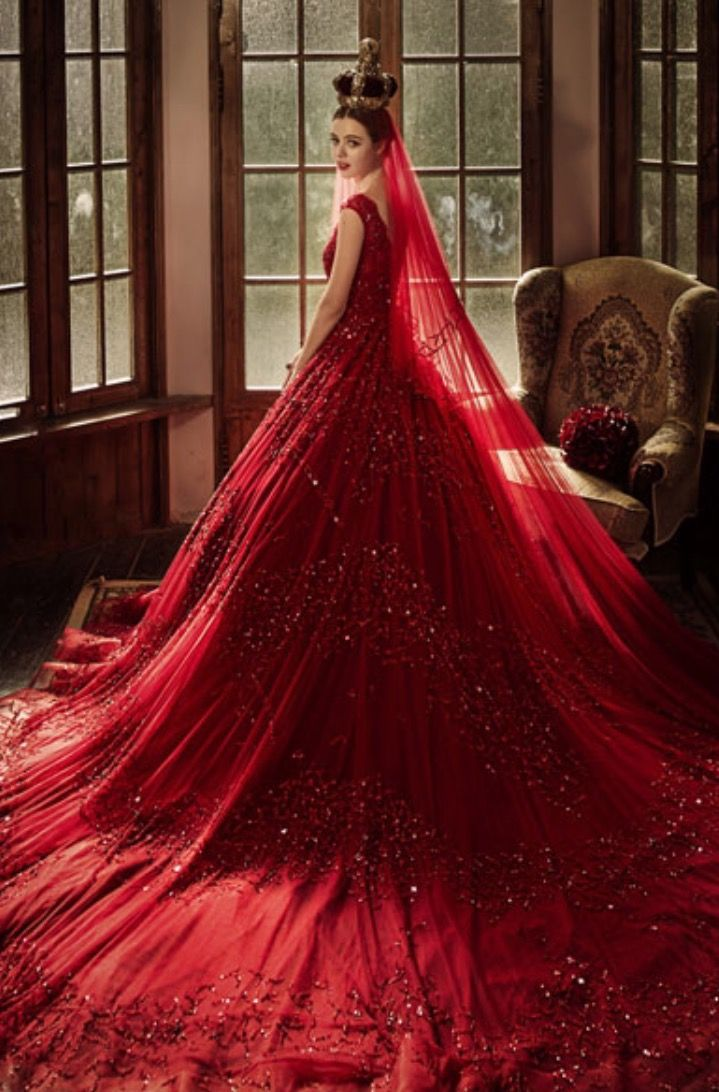 Wedding Dresses Color Red : Toned gowns red wedding dress black jewel tone
