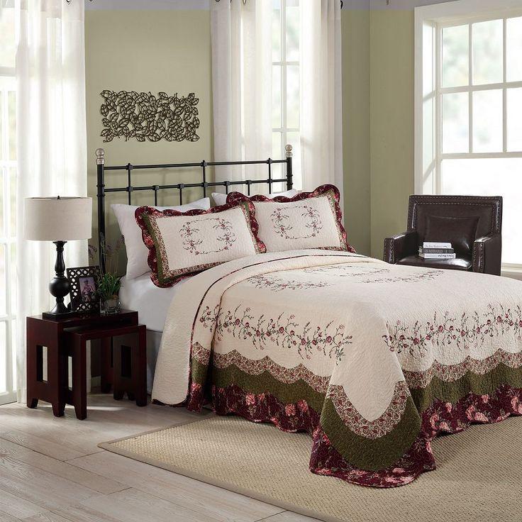 Peking Brooke Quilted Bedspread, Red