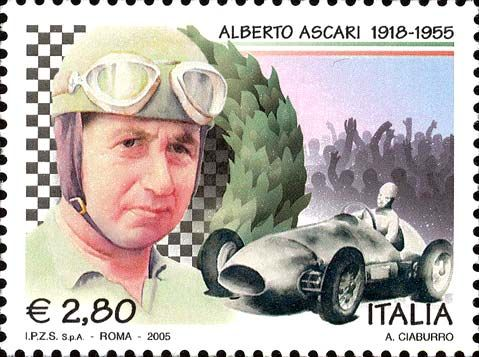 2005 - 50º anniversario della morte di Alberto Ascari - Ritratto di Alberto Ascari, pilota automobilistico e motociclistico italiano, vincitore del titolo di campione del mondo di Formula 1 nel 1952 e nel 1953, e auto da corsa