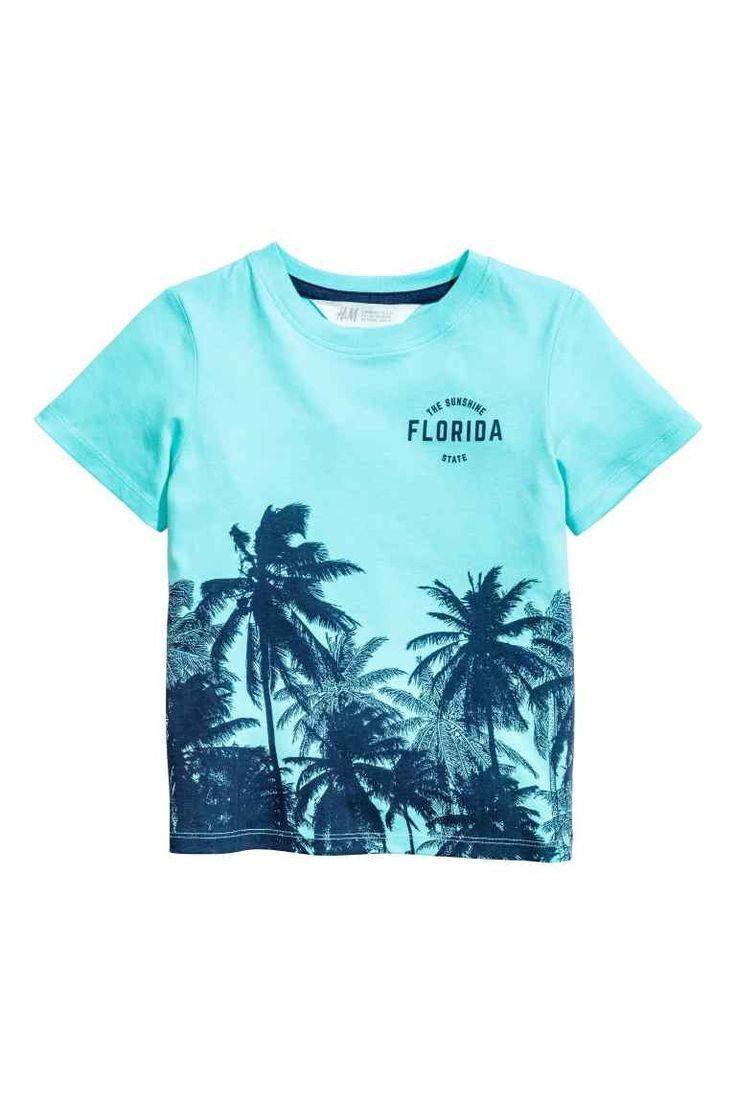 T-shirt met print - Lichtturkoois/palmbomen - KINDEREN | H&M NL