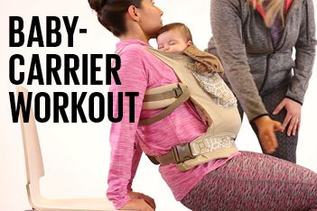 Baby on board—literally! Get in a few minutes of exercise with this fun baby-carrier workout.