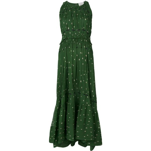 3.1 Phillip Lim Printed pintucked gown ($1,577) ❤ liked on Polyvore featuring dresses, gowns, green, high low evening dresses, green gown, green high low dress, green evening gown and green ball gown