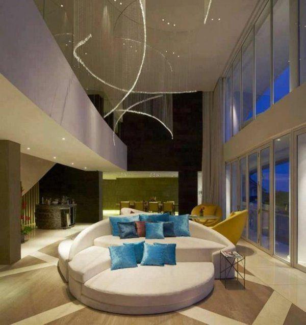 luxus wohnzimmer rundes sofa in blau beleuchtung