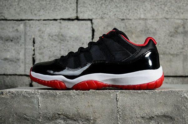 6fe0af63f5d683 2018 Authentic Nike Air Jordan 11 Bred Low Retro True Red Black 528895 012