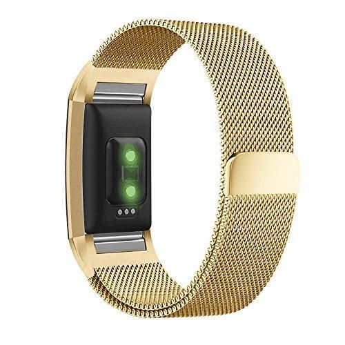 Fitbit Charge 2 Band UMTELE Milanese Loop Stainless Steel Metal Bracelet Strap with Unique Magnet Lock No Buckle Needed for Fitbit Charge 2 HR Fitness Tracker Gold