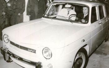 Ceausescu driving a Dacia 1100,
