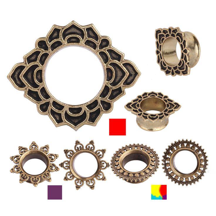 SWANJO Pair Brass New Fashion Ear Plugs Tunnels Earlobe Piercings Flesh Tunnel Ear Plugs Ear Expander Earring Gauges BodyJewelry