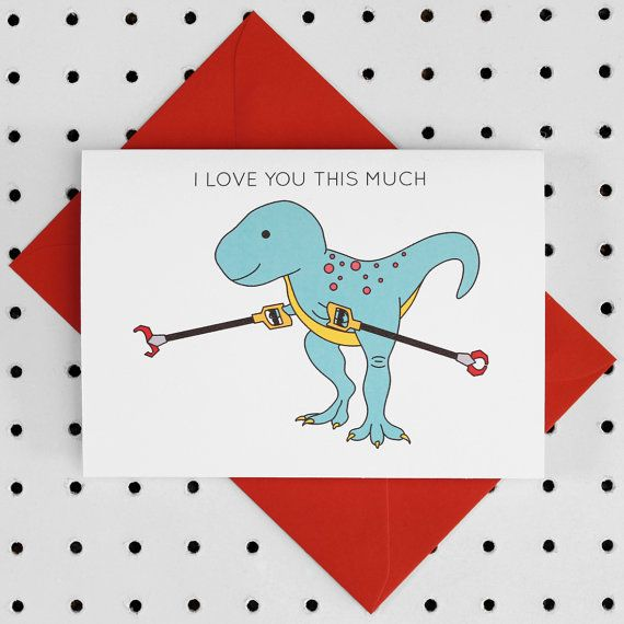 Show your loved one just how much you love them. This card is perfect for Valentines day or for an anniversary. It features T-Rex with grabby arms spread apart as wide as he can! The card also features the text I LOVE YOU THIS MUCH above the Dinosaur.  The card is blank inside so you can add your own message  The card is adapted from my own illustrations  350gsm card with a smooth silk finish. FSC Mix certified A6 card size: Approx. 105mm x 148mm (approx. 4 x 6) Red C6 envelope provided…