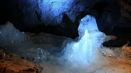 Ice in Fugaku Wind Cave, near Mt. Fuji, Japan.