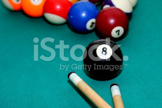 pooltable with 8 ball with cue royalty-free stock photo