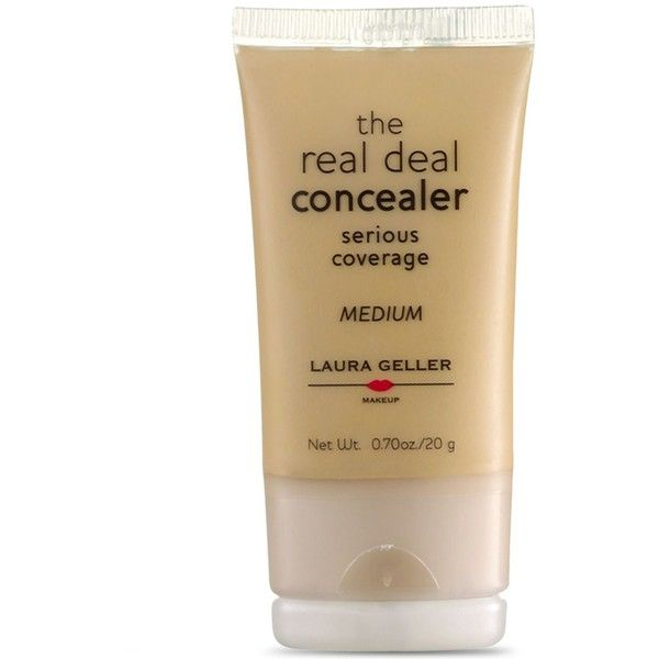 Laura Geller New York Real Deal Concealer ($22) ❤ liked on Polyvore featuring beauty products, makeup, face makeup, concealer, medium, oil free concealer, laura geller concealer and laura geller