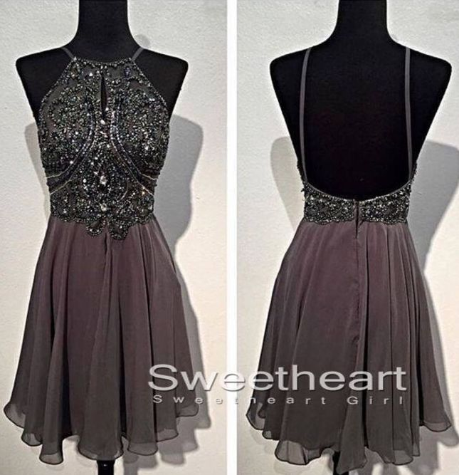 Short Prom Dresses, Black Prom Dresses, A-line Beaded Backless Short Prom Dresses, Formal Dresses