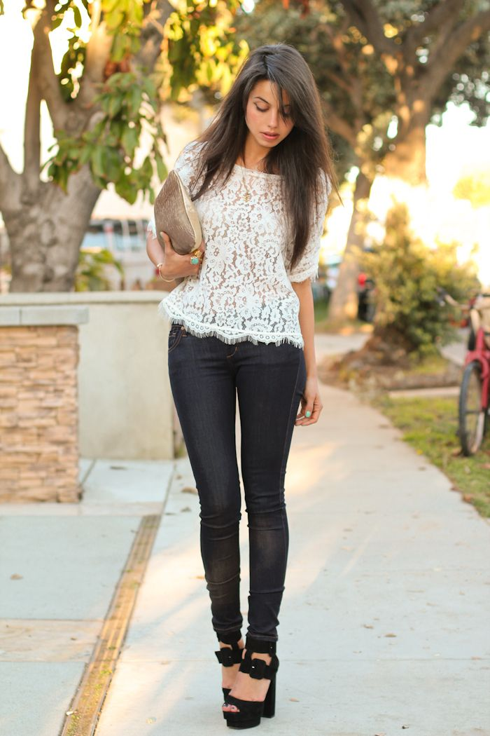 //: Black Skinny, Lace Tops, Skinny Jeans, Summer Outfit, Fashion Style, Lace Heels, White Lace, Lace Shirts, Summer Clothing