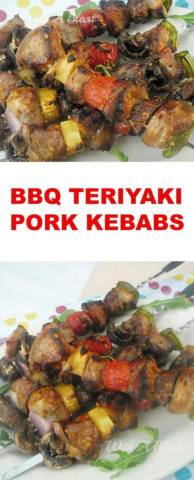 Marinated, Tender Pork with veggies etc, brushed with a tangy basting sauce and grilled to perfection