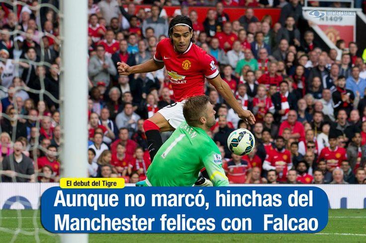 """Noticias Caracol en Twitter:""""Aunque no marcó, Falcao tuvo un emotivo estreno con la hinchada del Manchester United http://bit.ly/1DaTSIP"""