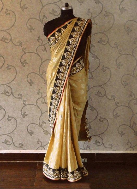 New Cream Designer Jequerd Silk Designer Saree