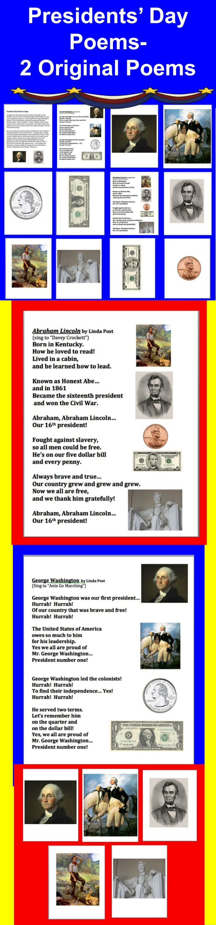 $ President's Day Poems and Songs - 12 page color download, but prints nicely in grayscale as well. Students can learn about George Washington and Abraham Lincoln as they sing these 2 songs. Poem/song about George Washington (sing to Ants Go Marching) and poem/song about Abraham Lincoln (sing to Davey Crockett). Poems complete with pictures ready for you to print out for your students.