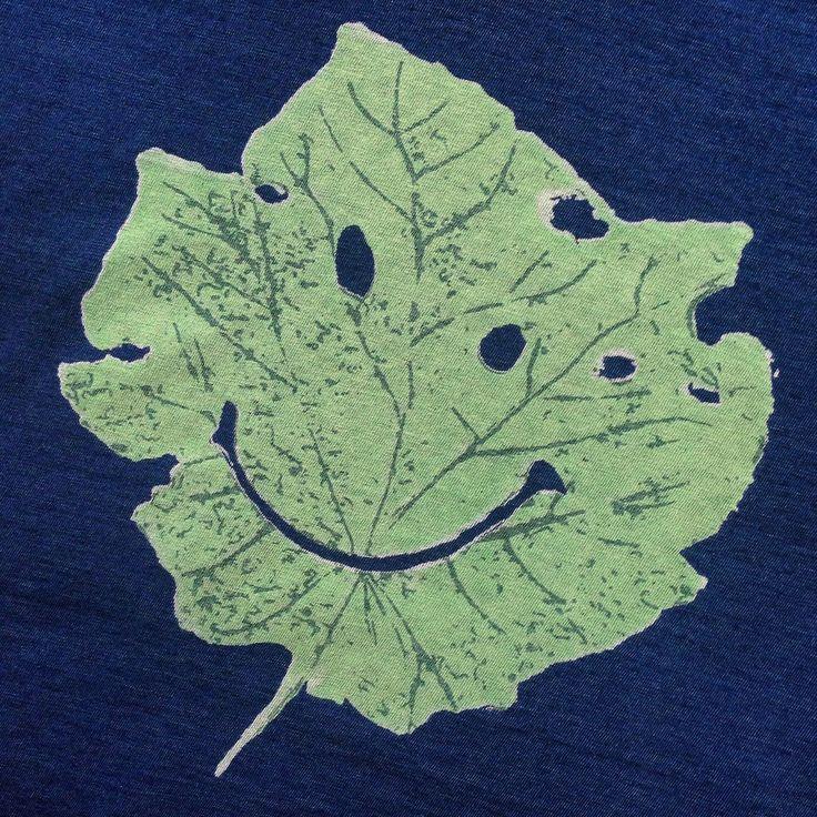 Kapital Smiley Leaf T-Shirt. (blue hands, kountry, made in Japan, indigo)